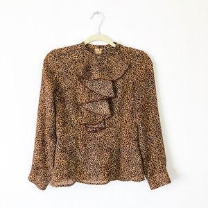 Tops - 🛒 Sheer Cheetah Print Long Sleeve Shirt